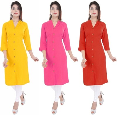 Blezza Casual Solid Women Kurti(Pack of 3, Yellow, Pink, Red)