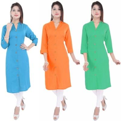 Blezza Casual Solid Women Kurti(Pack of 3, Light Blue, Orange, Light Green)