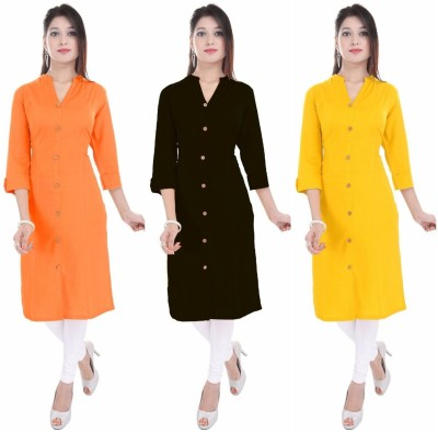 Blezza Casual Solid Women Kurti(Pack of 3, Orange, Black, Yellow)