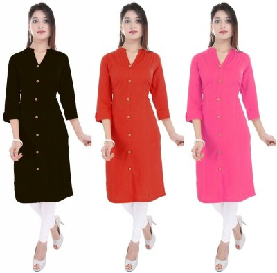 Blezza Casual Solid Women Kurti(Pack of 3, Light Blue, Yellow, Pink)