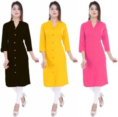 Blezza Casual Solid Women Kurti(Pack of 3, Black, Yellow, Pink)
