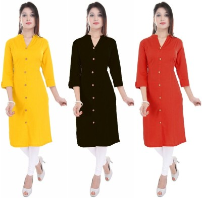 Blezza Casual Solid Women Kurti(Pack of 3, Orange, Light Blue, Blue)