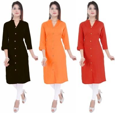 Blezza Casual Solid Women Kurti(Pack of 3, Black, Orange, Red)