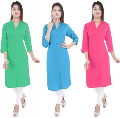 Blezza Casual Solid Women Kurti(Pack of 3, Multicolor)