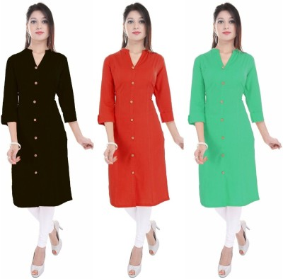 Blezza Casual Solid Women Kurti(Pack of 3, Black, Red, Light Green)