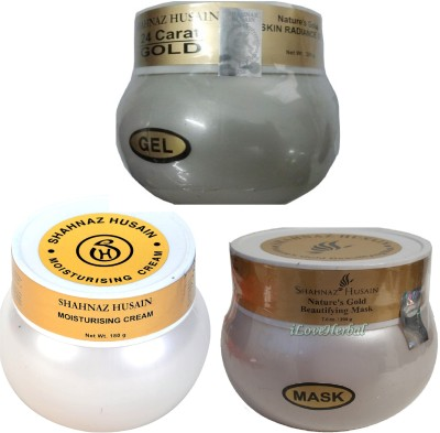 Shahnaz Husain Gold Plus Moisturising Cream + Beautifying Mask + Skin Radiance Gel(580 g)