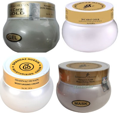 Shahnaz Husain Gold Plus Moisturising Cream + Beautifying Mask + Anti-Age Exfoliating Scrub + Skin Radiance Gel(780 g)