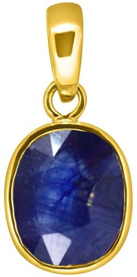 Tejvij and Sons 4.25 Ratti natural blue sapphire pendent ashthadhatu with gold plated for men & women… Yellow Gold Sapphire Metal Pendant
