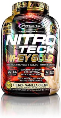 Muscletech Performance Series Nitrotech 100% Whey Gold Whey Protein(2.51 kg, French Vanilla Crème)