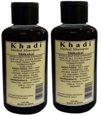 Parvati Khadi Gramudyog Khadi Herbal Shikakai Shampoo Pack of 2(420 ml) at flipkart