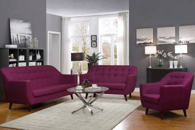 Peachtree Fabric 3 + 2 + 1 Purple Sofa Set