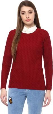 Modeve Self Design Round Neck Casual Women Maroon Sweater