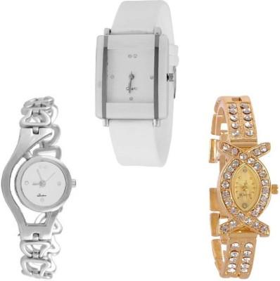 Maan International New Combo3 White & Gold Analogue Watch  - For Women   Watches  (Maan International)