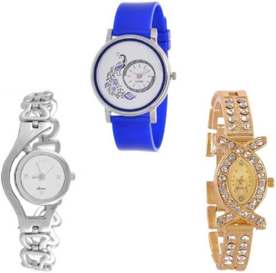 Maan International Combo3 Mor Printed Blue & White & Gold Analogue Watch  - For Women   Watches  (Maan International)