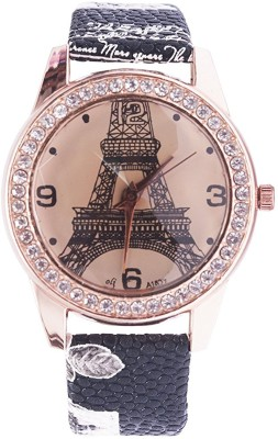 OM Collection Famous Ladies/Women/Girls Beautiful Round Eiffel Tower Designer Dail   Black Leather Strap with flower and Words Watch For Girls And Woman-Black bend omwt-6 Watch  - For Girls   Watches  (OM Collection)