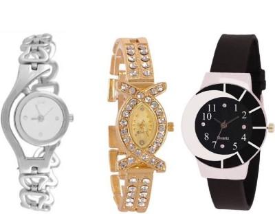 Maan International Combo3 Zibra Black & White & Gold Analogue Watch  - For Women   Watches  (Maan International)