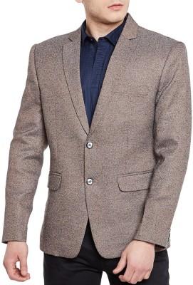 WINTAGE Solid Single Breasted Festive Men's Blazer(Grey)
