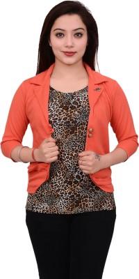 AAKRITHI Solid Single Breasted Formal Women Blazer(Beige)