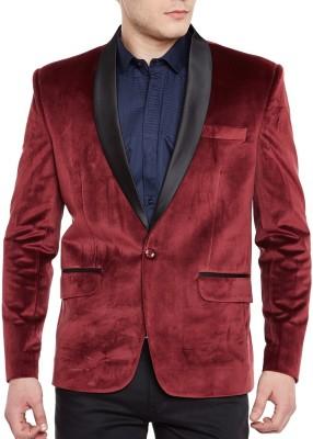 WINTAGE Solid Tuxedo Style Festive Men's Blazer(Maroon)