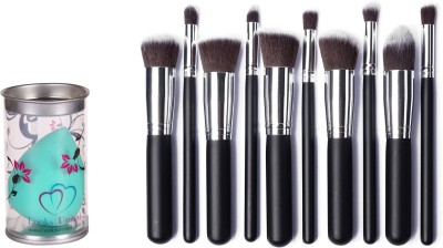 Looks United Cosmetic Makeup Brush Set With Leather Pouch And Foundation Sponge Blender Pack of 11 Looks United Makeup Brush