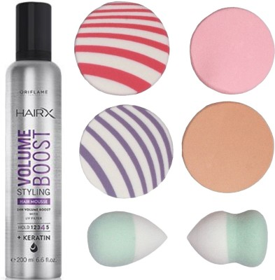 Buy Oriflame Sweden Hairx Volume Boost Styling Hair Mousse 200ml 30550 With Puff Sponge 7 Items In The Set On Flipkart Paisawapas Com