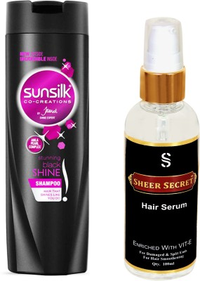 SUNSILK STUNNING BLACK SHAMPOO 180ML with SHEER SECRET HAIR SERUM 100ML(Set of 2)