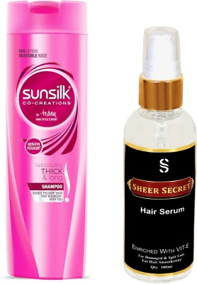 SUNSILK LUSCIOULSY THICK AND LONG SHAMPOO 180ML with SHEER SECRET HAIR SERUM 100ML(Set of 2)