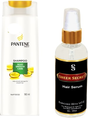 PANTENE SILKY SMOOTH CARE SHAMPOO 180ML with SHEER SECRET HAIR SERUM 100ML(Set of 2)