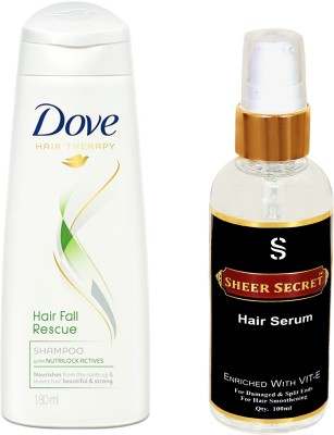 Dove HAIR FALL RESCUE SHAMPOO 180ML with SHEER SECRET HAIR SERUM 100ML(Set of 2)  available at flipkart for Rs.425