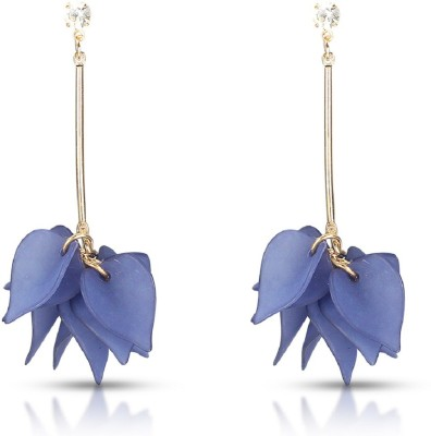 Fabfashion Petal's Blue Color Stud earring Cubic Zirconia Alloy Drop earring  available at flipkart for Rs.79