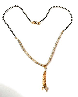 akshara jewels necklace Designer Jewellery American Diamond Gold Plated Partywear Collection Mangalsutra For Women Brass Mangalsutra  available at flipkart for Rs.229