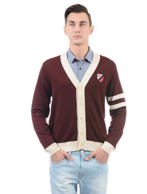 U.S. Polo Assn Solid V-neck Casual Men Brown Sweater