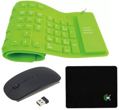 FKU Flexible Green Keyboard With White Ultra Slim Wireless Mouse & Mousepad Combo Set