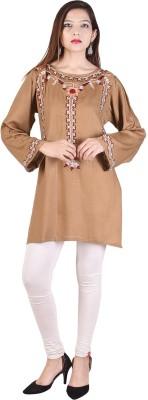 Desier Women Self Design Pathani Kurta(Beige)