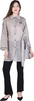 Desier Women Self Design Pathani Kurta(Grey)
