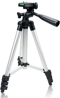 VRCT 105cm Long Metal Camera Tripod for DSLR Mobiles & Action Cameras having 3-Way Pan & Tilt Tripod Kit(Silver, Supports Up to 1000 g) 1