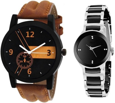 FabSale New Stylish Leather Strap 001 And IIK Couple Watch  - For Couple