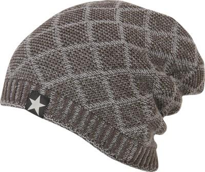 FabSeasons Woven Woolen Winter Beanie Cap with Faux Fur Lining on the inside Cap