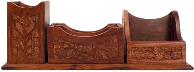 SC Handicrafts Spectal 1 1 Compartments Wooden Holder(Brown)