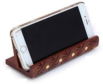 WoodCart 1 Compartments H@ndmade Wooden Mobile Stand Holder Long With Brass and Carving Work Mobile Holder(Brwon)