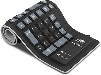 VibeX ™ Foldable Silicone Keyboard USB Wired Waterproof Rollup Keyboard for PC Notebook Laptop Wireless, Bluetooth Multi-device Keyboard(Black, Grey) Flipkart