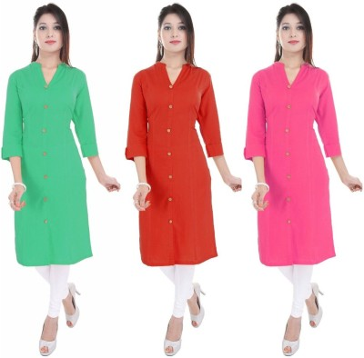 Blezza Casual Solid Women Kurti(Pack of 3, Light Green, Red, Pink)