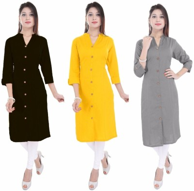 Barari Casual Solid Women Kurti(Pack of 3, Black, Yellow, Grey) Flipkart