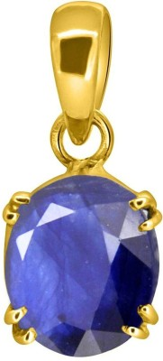 Tejvij and Sons 3.25 Ratti Original Blue Sapphire Neelam Ashthadhatu Pendent for Men & Women Gold Plated Yellow Gold Sapphire Metal Pendant