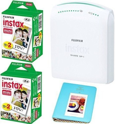 Fujifilm instax SHARE Smartphone Printer SP-1 With 2x Fuji Instax Mini Twin Pack Instant Film (= 40 Shoots) +With Photo Album 64 Pockets Blue Value Set Bundle SP-1