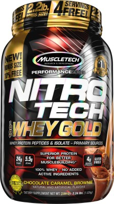Muscletech Performance Series Nitrotech 100% Whey Gold Whey Protein(1.02 kg, Chocolate Caramel Brownie)