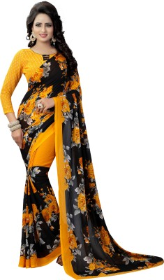 Winza Designer Printed Bollywood Faux Georgette Saree(Black, Yellow)