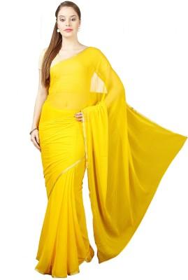Pavechas Solid Bollywood Chiffon Saree Yellow Pavechas Women's Sarees