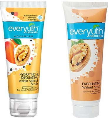 EVERYUTH NATURALS EXFOLIATING WALNUT SCRUB 100 GM. + HYDRATING & EXFOLIATING WALNUT APRICOT SCRUB 100 GM Scrub(100 g)
