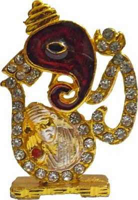 VINTAN Religious God Shiv OM Face Ganesha & Sai Baba Figurine/Lord Shiva OM Ganesh Sai Nath Symbol idol Handicraft Statue-Home Room Office Temple Mandir Murti Car Dashboard Decor Gift item. Showpiece  -  5 cm(Gold Plated, Gold)  available at flipkart for Rs.219